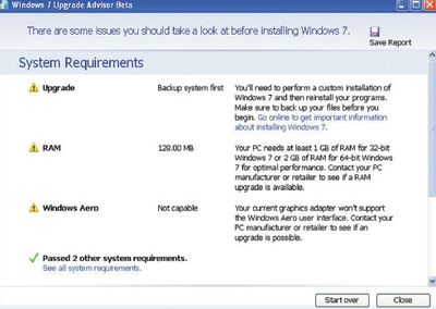 Окно Windows 7 Upgrade Advisor