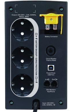 К модели APC Back-UPS 650 можно подключить до трех единиц компьютерной техники или домашней электроники с суммарным энергопотреблением до 390  Вт