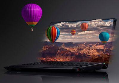 Экран ноутбука Sony показывает 3D без стереоочков