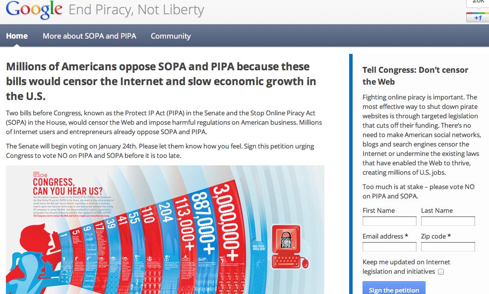 Google выступил против принятия закона о пиратстве