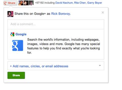 В Google+ наряду с «+1» появилась кнопка Share