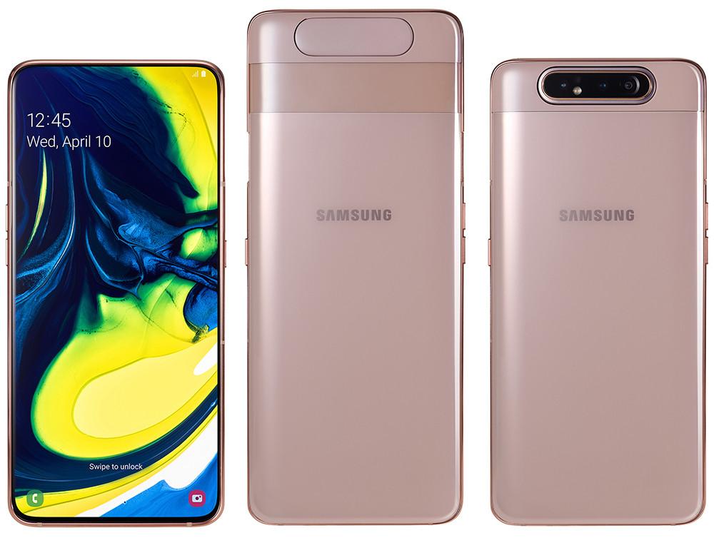 Смартфон Samsung Galaxy A80 получил огромный AMOLED-экран и раздвижной корпус с поворотной камерой