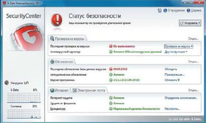 Главное окно G-Data Internet Security 2011