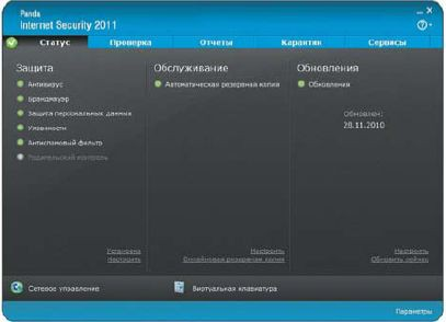 Главное окно Panda Internet Security 2011