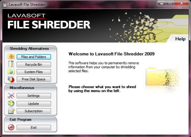 Утилита Lavasoft File Shredder, как и следует из ее названия