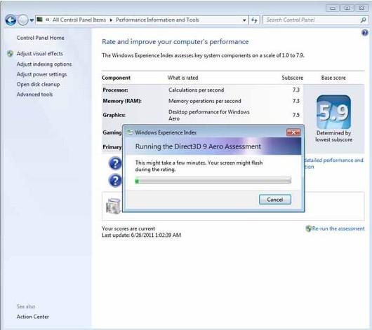 Оценка производительности графического интерфейса Windows Aero