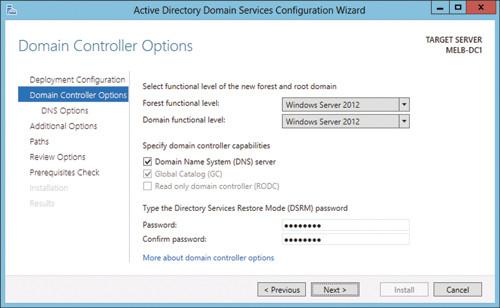 Страница параметров контроллера домена