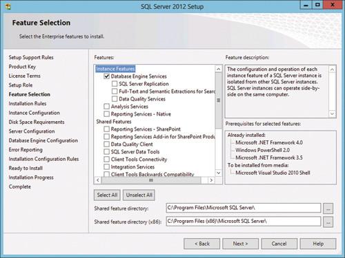 Установка служб компонентов Database Engine