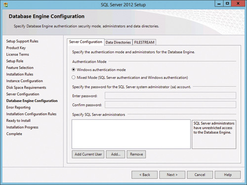 Страница настройки компонентов Database?Engine