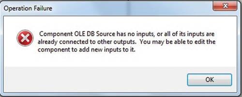Сообщение об ошибке при попытке подсоединения к выводу компонента источника OLE DB