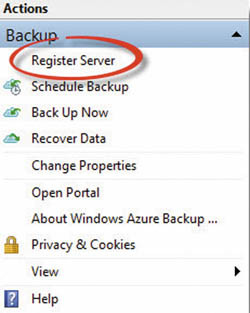 Регистрация изолированного сервера с?помощью агента Windows Azure Backup
