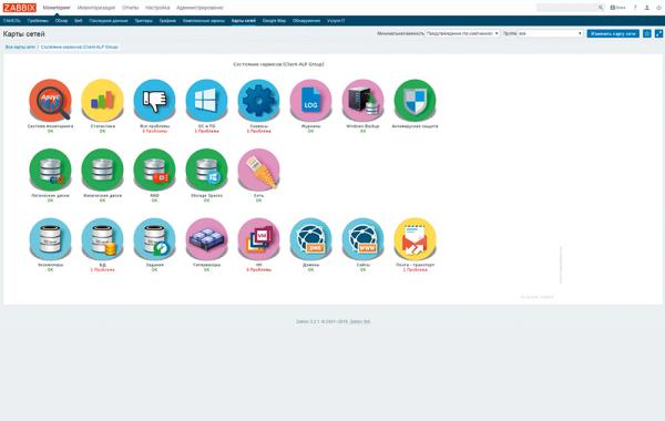 Интерфейс сервиса централизованного мониторинга иконтроля