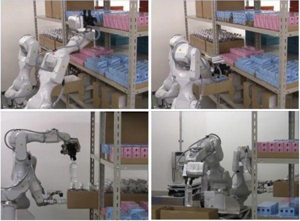 Робот на складе Hitachi грузит товары двумя руками