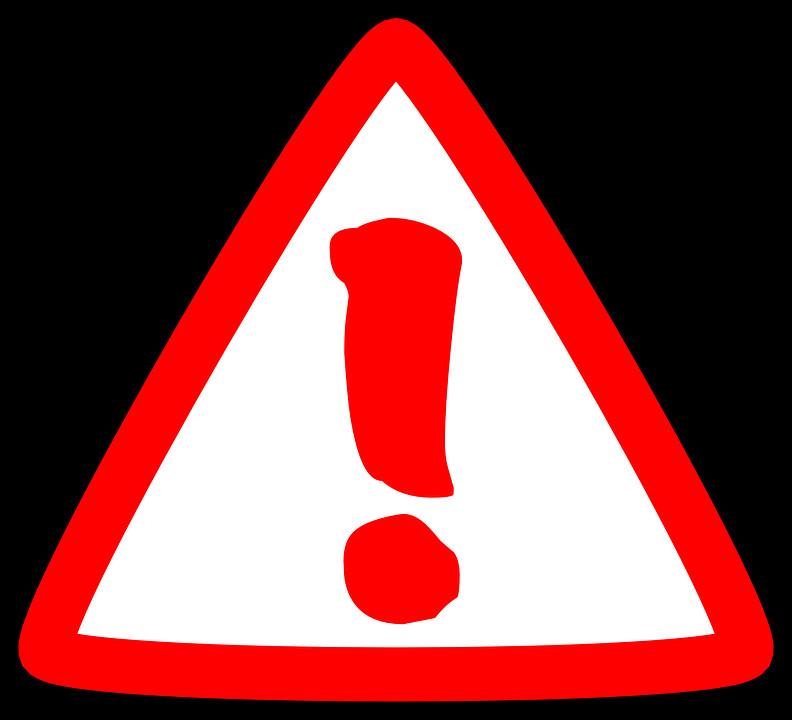 красный треугольник с белым восклицательным знаком при отправке сообщения