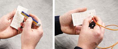 Рисунок 2. Правильный выбор средств облегчает очистку торцевой поверхности волокна. Растворитель для волокна, нанесенный на специальный одноразовый диск для очистки, является наиболее эффективным средством.