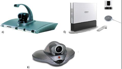 Рисунок 5. Групповые системы ВКС бизнес-класса: а) Aethra Vega X5; б) Sony PCS-G70 VP; в) Polycom VSX 7000s.