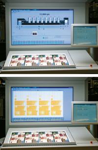 Начиная сDrupa новым пультом Prinect Press Center будут комплектоваться машины Speedmaster всех форматов. Внём объединены операции поприводке инастройке красочных зон. ФункцияIntellistart во время печати тиража позволяет начать подготовку кследующему. Набольшом световом экране печатник отследит все процессы, вт.ч.профиль печати сдинамическим отображением функций, настройку поданным изпрепресса сотображением печатных листов скрасочными зонами вмасштабе 1:1
