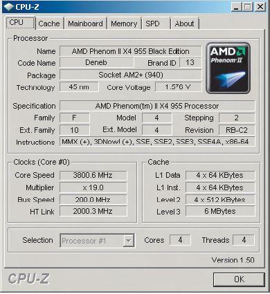 Успешный разгон процессора засвидетельствован программой CPU-Z