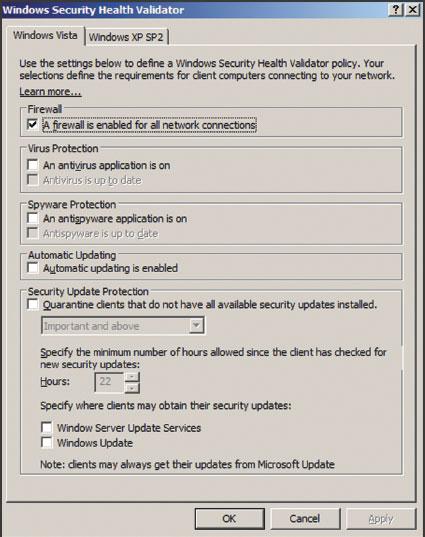 Экран 2. Назначение требований безопасности для клиентов Windows Vista