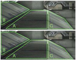Пример работы алгоритмов типичной фильтрации (наверху) и анизотропной фильтрации G80 (внизу) в игре Unreal Tournament 2004 (внимание на секции B и C)