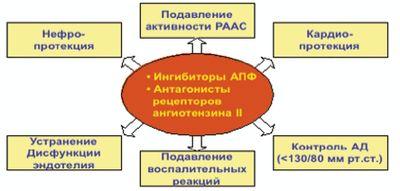 Рис. 2. Необходимость применения ИАПФ и АРА II у больных АГ и СД