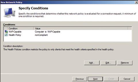 Экран 4. Ввод условия NAP-Capable