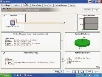 Рисунок 2. Обзор сети: анализатор OptiView отображает на своей стартовой странице все основные параметры.