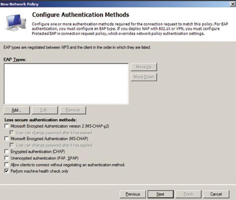 Экран 5. Настройка политики для проверки состояния безопасности клиентов через DHCP