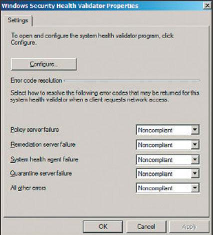 Экран 1. Настройка свойств Windows Security Health Validator