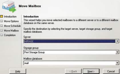 Экран 2. Запуск мастера Move Mailbox