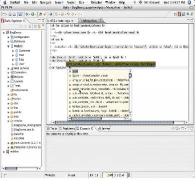 В состав 3rdRail включен набор функций Commanders, позволяющий упростить процесс разработки, втом числе процедуру написания ивыполнения сценариев. Функции завершения подстановки команд ипараметров аналогичны функциям автоматического завершения ввода операторов при написании кода. При наборе текстовой строки на экране появляется выпадающее меню, из которого можно выбрать нужный вариант