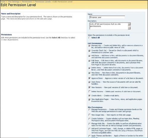 Экран 6. Разрешения вSharePoint 2007
