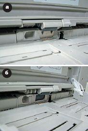 Рис. 2. Различия в механизмах подачи листов из обходного лотка принтеров: а— C9600, б — C9650