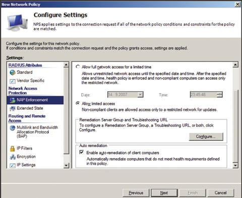 Экран 6. Настройка принудительного применения NAP
