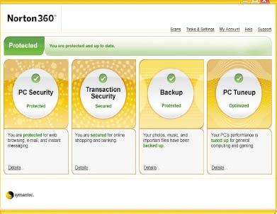 Norton 360 2.0 сочетает всебе функциональность программ Norton Internet Security иNorton AntiVirus сдобавлением механизма создания резервных копий данных