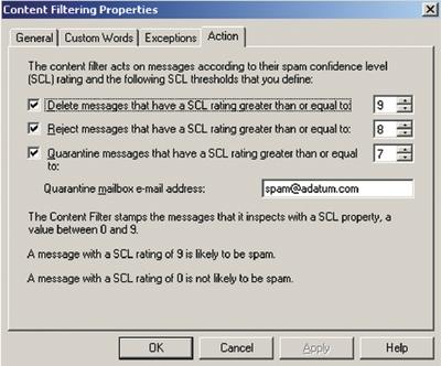 Экран 4. Настройка свойств фильтра контента насервере Hub Transport
