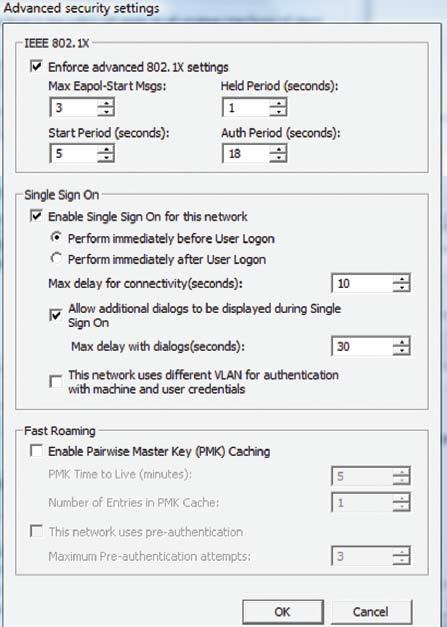 Экран 5. Расширенные настройки безопасности длябеспроводных GPO