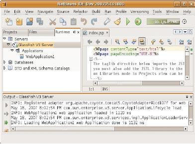 Программное обеспечение GlassFish поставляется ввиде исполняемых программ иисходного кода, написанного на языке Java. Продукт интегрирован со средой разработки NetBeans ипозволяет разработчикам разворачивать приложения SOA сиспользованием потоков работ языка описания бизнес-процессов