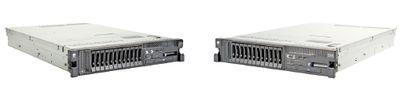 Рисунок 2. Двухпроцессорный сервер IBM System x3650 M2 высотой 2U содержит до 12 жестких дисков, имеет встроенный гипервизор, оперативную память DDR3 до 128 Гбайт, четыре порта GbE и четыре слота PCIe x8.
