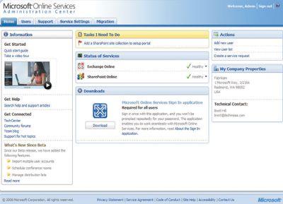 Экран 1.  Портал Microsoft Online Administration Center
