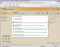 Office Live Workspace предлагает набор шаблонов «Рабочих пространств» для решения различных тематических задач