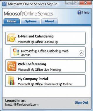 Экран 2. Приложение Microsoft Online Services Sign-in
