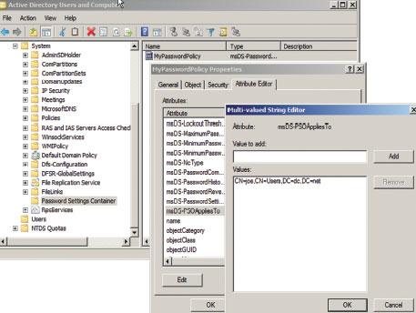 Экран 2. Привязка кобъекту PSO устанавливается из оснастки Active Directory Users and Computers консоли MM