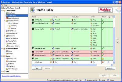 "WinRoute Firewall работает по принципу ""запрещено все, что явно не разрешено"""