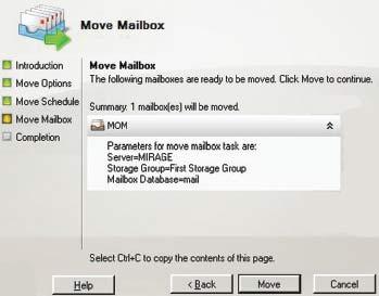 Экран 5. Сводка параметров настройки переноса почтовых ящиков