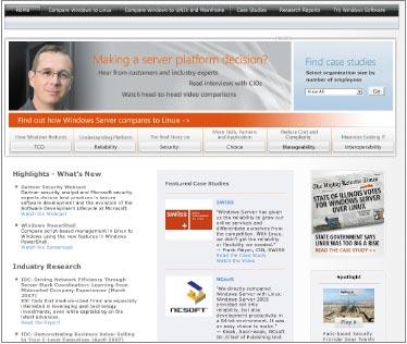 Новый Сайт находится по адресу WindowsServer/Compare (http://www.microsoft.com/windowsserver/compare). На нем собрана информация, показывающая, как Windows Server выглядит всравнении ссистемами Linux, Unix исистемами на основе архитектуры мэйнфреймов IBM по показателям общей стоимости владения, надежности, безопасности, администрирования исовместимости