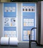 Демонстрация продукции HP InkJet Web Press, помещающейся по ширине полотна 762 мм: 3 полосы писем; 4 полосы транзакционного документа; 2-полосная газета формата