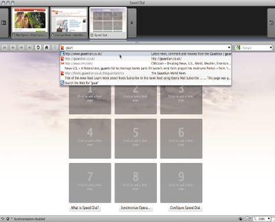 В новую версию браузера Opera 10 включены встроенные средства сжатия страниц и модернизированная панель вкладок, на которой представлены уменьшенные изображения открытых Web-страниц