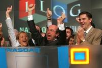 Пьер Харен ударом в колокол NASDAQ возвещает о двадцатилетии ILOG (май 2007 года)