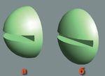 Рис. 2. Заготовка шляпки шурупа: а — после применения булевой операции; б — после масштабирования